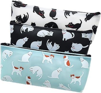 Haifly Estuches de plástico para Lápices de Gatos, Impermeables, Estuche, Estuche, Estuche Escolar, para Adolescentes y Niñas: Amazon.es: Oficina y papelería