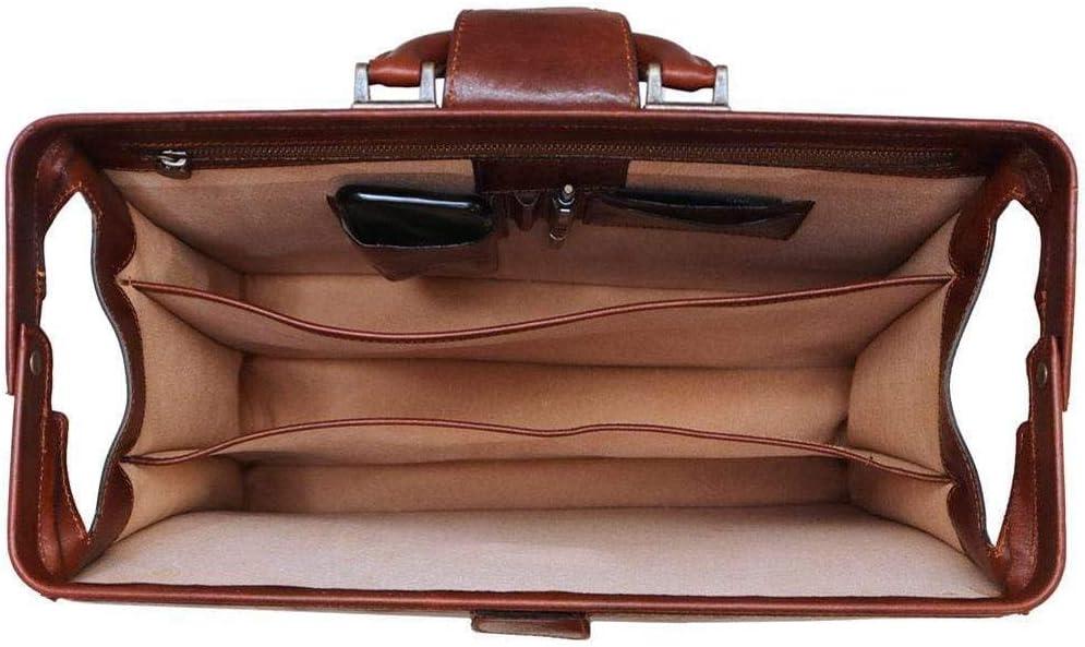 Leather Attache Case in Brown Floto Ciabatta Combo Briefcase