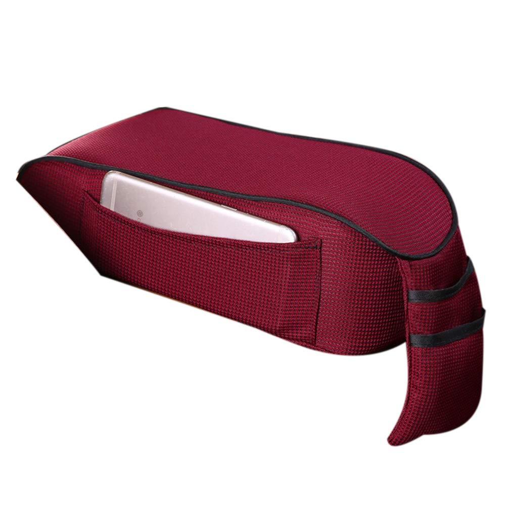 HOTEU Sanft Atmungsaktiver weicher Memory Foam Auto Armlehnen Mittelkonsolen Kissen All Seasons Universal Auto Sitzkissen Mittelkonsolen Armlehnen Kissen mit Mini Aufbewahrungstasche