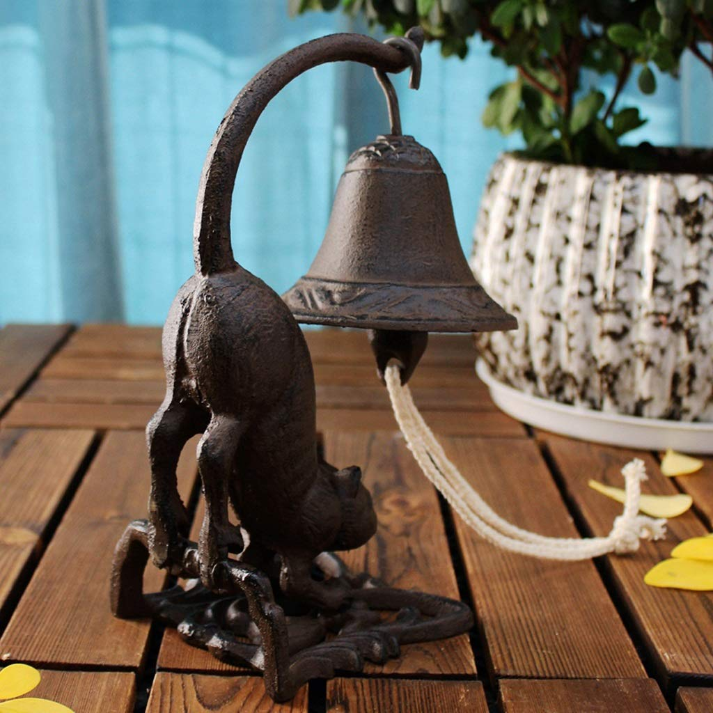 QARYYQ Long Tail cat Style doorbell Vintage cast Iron Table Bell Iron Hand Rattle Crafts 11x11x23cm doorbell