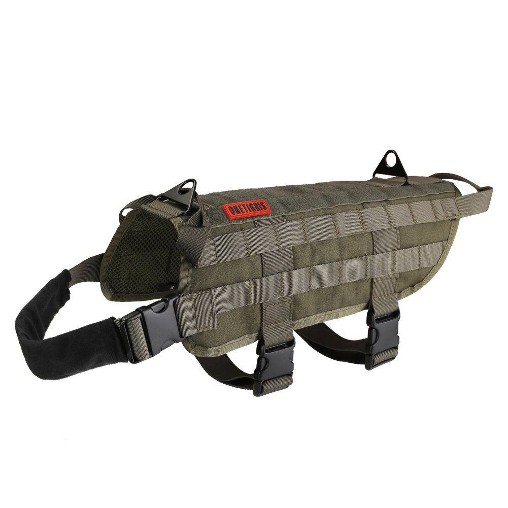 OneTigris Tactical Dog Training Vest Harness with Mesh Padding and Two Handles (Ranger Green, L / 49cm)