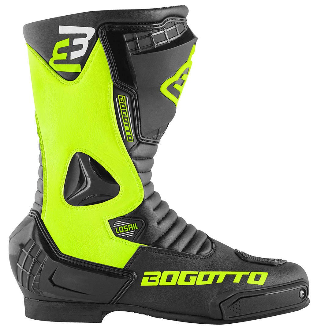 Bogotto Losail Motorradstiefel Schwarz//Neon Gelb 43
