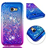 for Samsung A5 Phone Case 2017 Glitter Liquid and Screen Protector,QFFUN Bling Sparkle Quicksand Gradient Colors Design Shiny Diamond Clear Slim Fit Protective Phone Case Bumper - Blue and Purple
