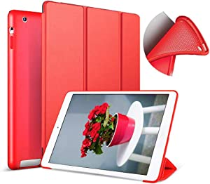 Aoub (Old Model) for ipad 2/3/4 case Slim Lightweight Tri-Fold Silicone Stand Cover with Auto Sleep/Wake Function,for Old iPad 2th/3th/4th Generation case (Red)