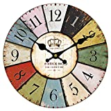 Vintage Wall Clock Rustic Shabby Chic Home Kitchen Wooden 30cm Decor #17