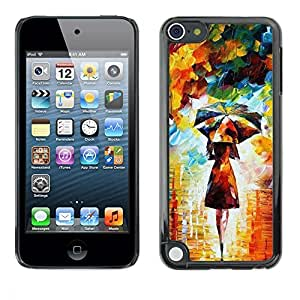 Design for Girls Plastic Cover Case FOR Apple iPod Touch 5 Painting Colorful Girl Woman Umbrella Art OBBA