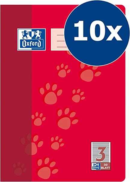 Oxford 100050324 - Libreta, A4, líneas 3 10 unidades, clase 3, 32 hojas, 90 g/m2, color rojo: Amazon.es: Oficina y papelería