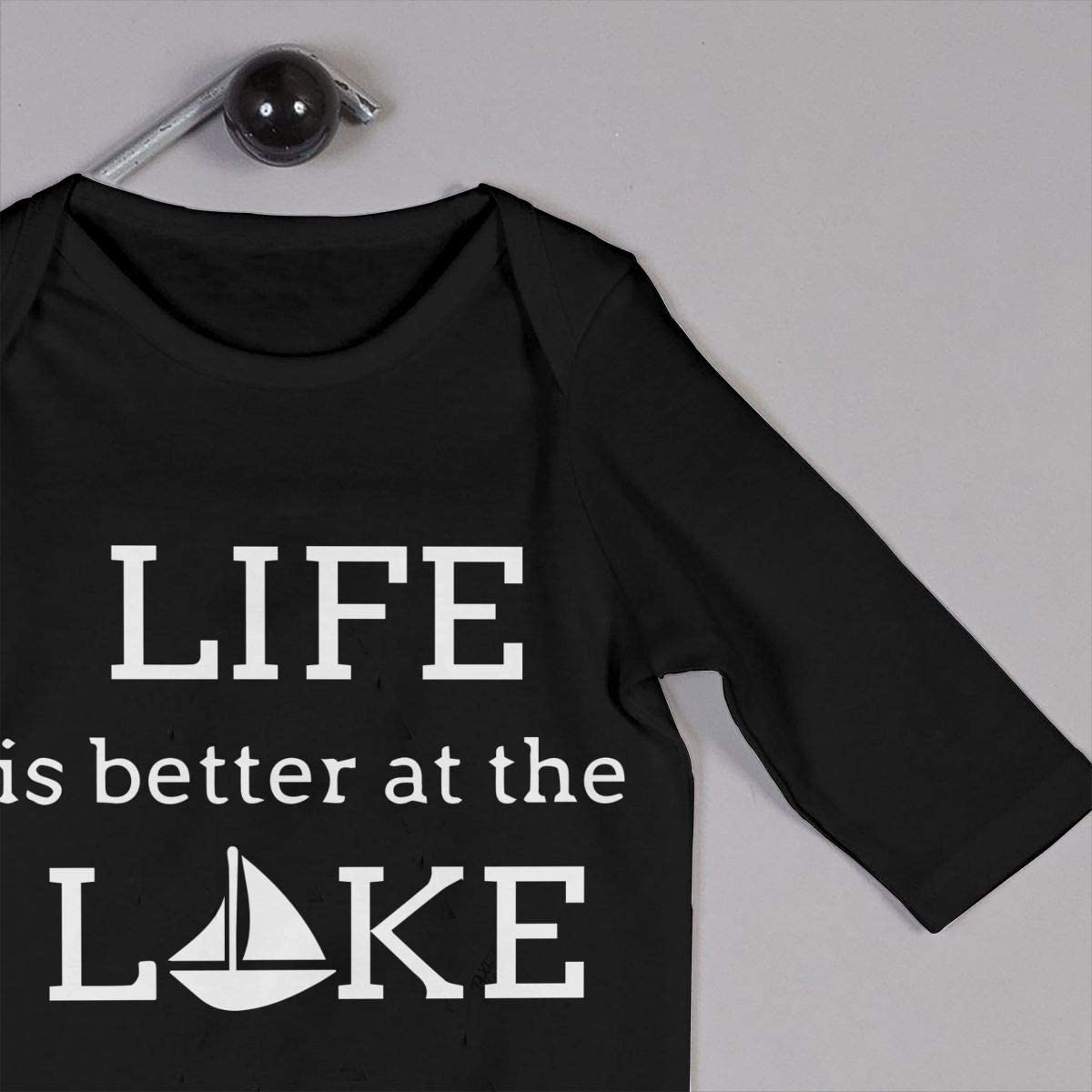 YELTY6F Life is Better at The Lake 1-1 Printed Baby One-Piece Suit Long Sleeve Rompers Black