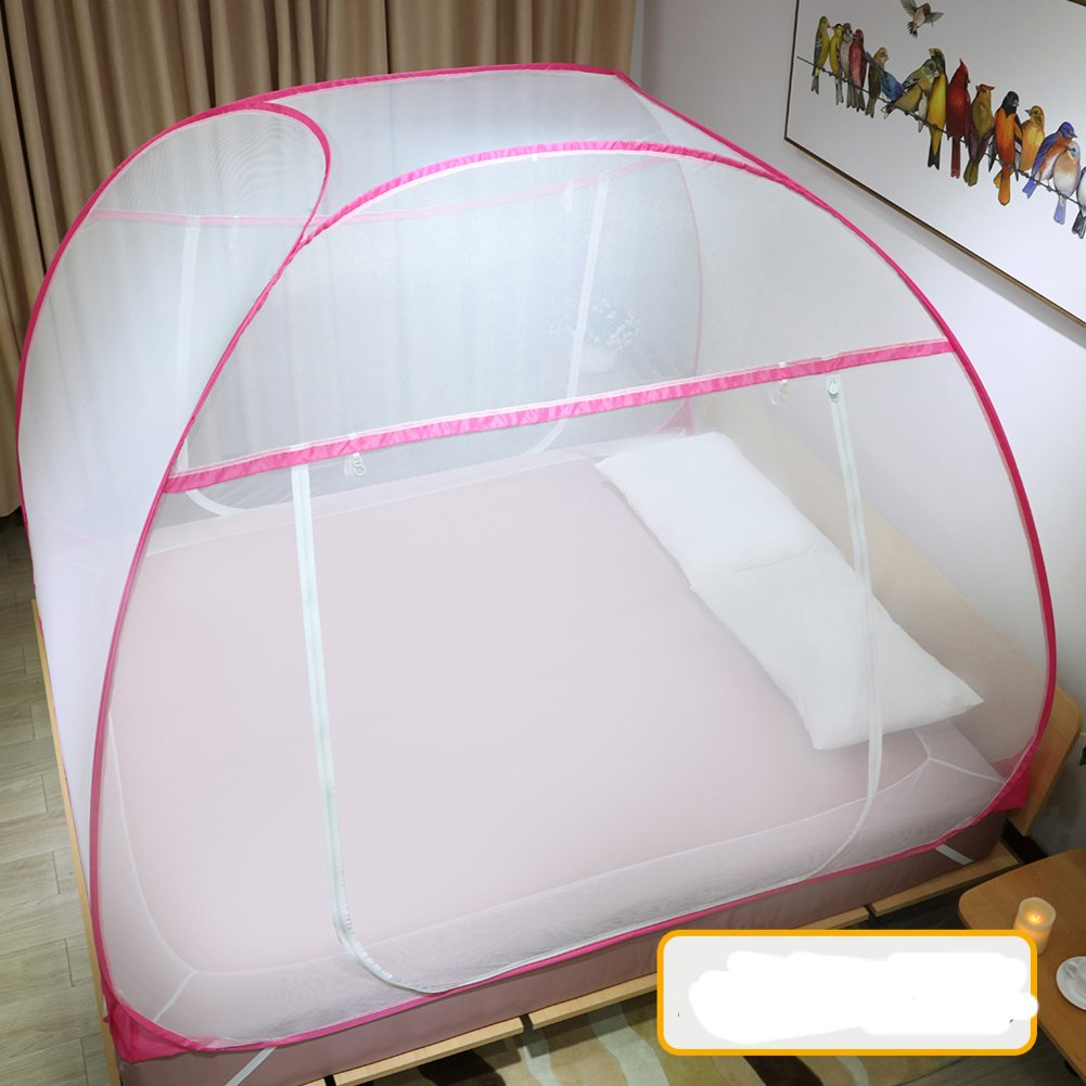 DE&QW Thickened castle tent mosquito nets, Encrypted double bed canopy set breathable castle tent-C Queen2