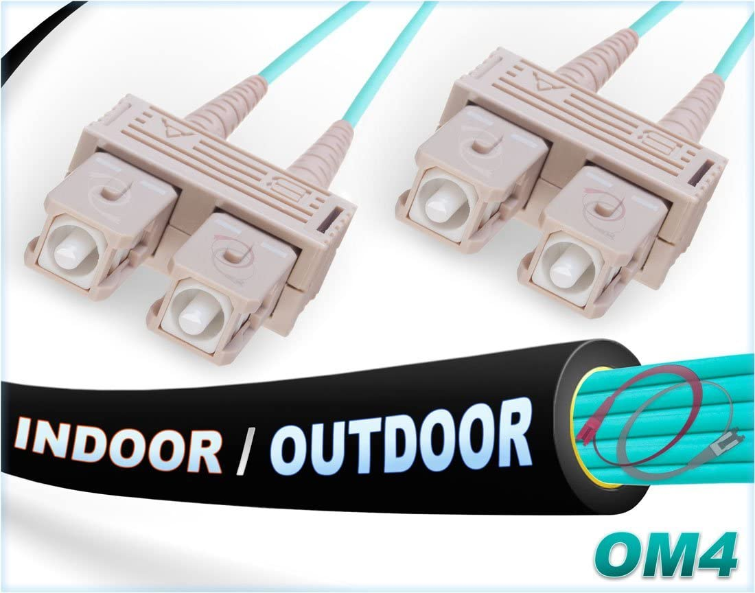 Indoor//Outdoor 100G SC to SC Multimode 50//125-50 Meter FiberCablesDirect OM4 Compatibility: OM3//OM2 50M OM4 SC SC Fiber Patch Cable 1Gb 10Gb 40Gb 100Gb   Length Options: 0.5M-300M 164ft