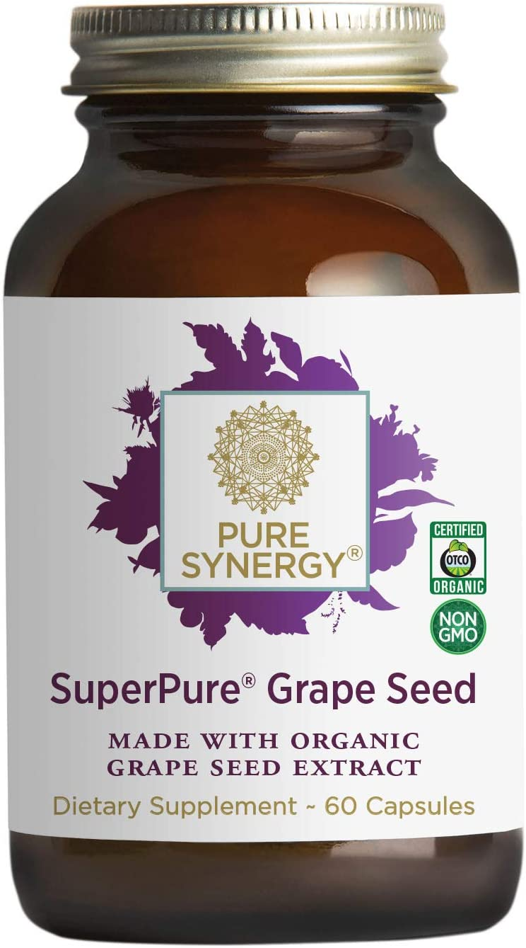 Pure Synergy SuperPure Grape Seed Extract (60 Capsules) w/ Proanthocyanidins for Antioxidant Support: Health & Personal Care