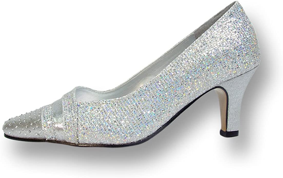 Prom Floral FIC Eryn Women Wide Width Evening Dress Shoe for Wedding and Dinner Silver