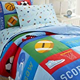 Wildkin Lightweight Twin Comforter Set, 100% Cotton Twin Comforter with Embroidered Details, Includes One Matching Sham, Coordinates with Other Room Décor, Olive Kids Design – Game On