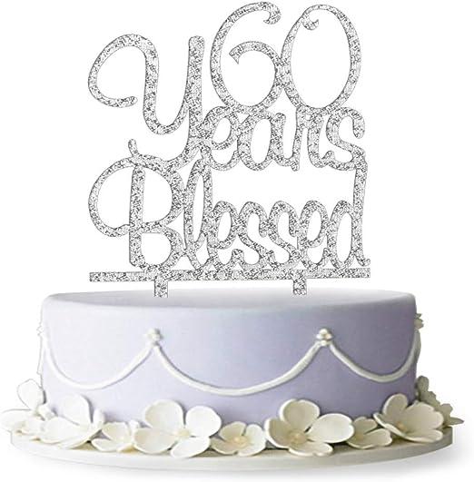 Amazon.com: 60 años Bendecido tarta Topper- 60 cumpleaños ...