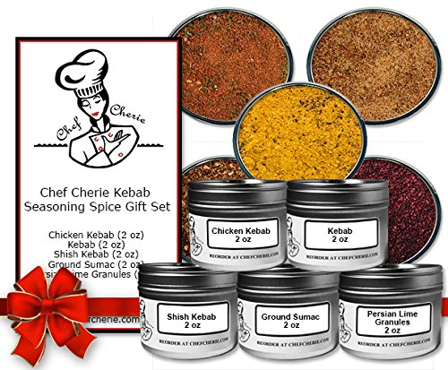 Chef Cherie's Kebab Seasoning Spice Gift Set-Contains 5 2 oz. Tins