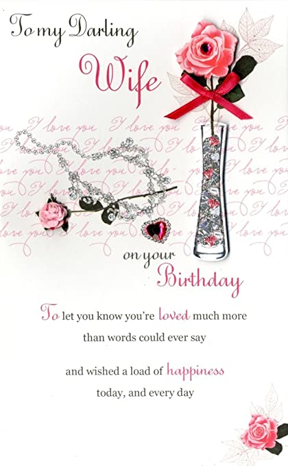Amazon Happy Birthday Wife Embellished Greeting Card Second