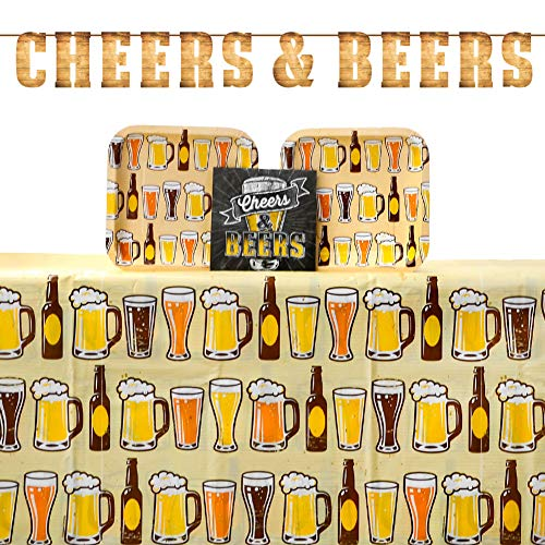 Cheers and Beers Party Supplies Pack for 16 Guests Including Paper Deep Dish Luncheon Plates, Paper Beverage Napkins, Letter Party Banner, and Plastic Table Cover (Bundle for 16)