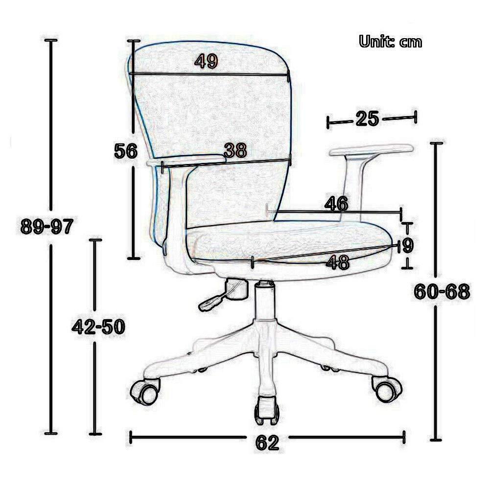 Kontorsstol, hem tyg fritid svängbar stol, ergonomisk stol, enkel montering, justerbar höjd, andningsbar tjock kudde, PU Caster med låg brus (färg: Ljusgrå) Mörkgrått