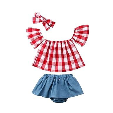 870e331be5c09 Amazon.com: Toddler Kids Baby Girl Outfits Clothes Off Shoulder Short Sleeve  Plaid T-Shirt Tops Ruffle Shorts 3PCS Set: Clothing