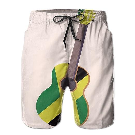 7e55c358b1 Men Quick Dry Summer Beach Board Shorts Guitar Jamaican Flag ...
