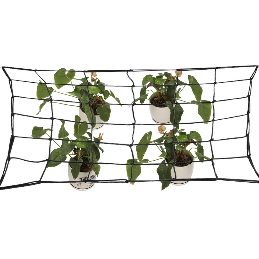 Asdomo Elastic Trellis Netting for Grow Tents Fits 4×4 and More Size, Includes 4 Steel Hooks, 49 Growing Spaces