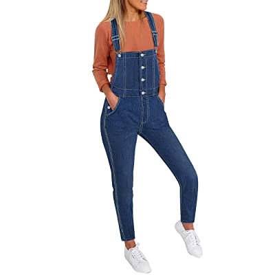 luvamia Women's Casual Stretch Adjustable Denim Bib Overalls Jeans Pants Jumpsuits: Clothing