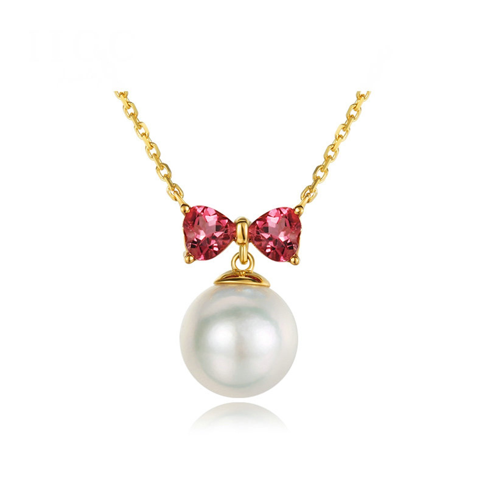Daesar 18K Gold Necklace For Women Butterflies And Pearls Cubic Zirconia Red Necklace Chain Length: 40CM