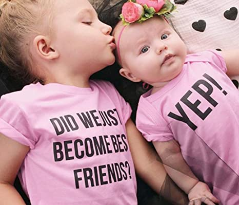 594bb03e38f Amazon.com  FEITONG Toddler Kids Newborn Infant Baby Girls Letter Sister  Matching Clothes T shirt Tops   Jumpsuit Romper Outfits  Baby