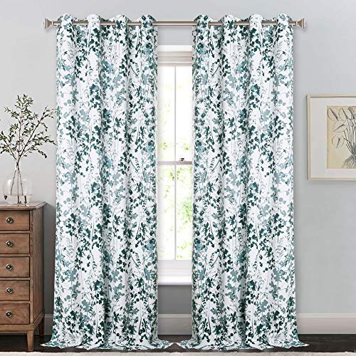 KGORGE 95-inch Classic Decorative Curtain - Thermal Insulated Sleep Protection Window Coverings for Blacking Out Light, Art Printed Draperies with Layered Watercolor Pattern (Green, 52