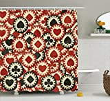 Ambesonne Casino Decorations Collection, Poker Chips Metropolitan Dollar Currency Symbols Wealth Winning Enjoy Picture, Polyester Fabric Bathroom Shower Curtain, 75 Inches Long, Burgundy Black