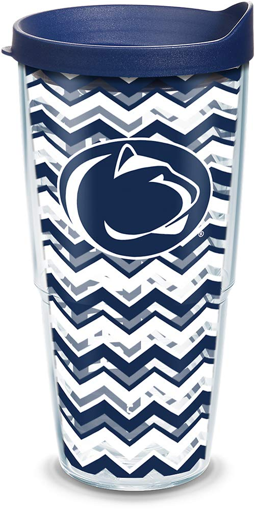 Tervis 1146655 Penn State Nittany Lions Chevron Tumbler with Wrap and Navy Lid 24oz, Clear