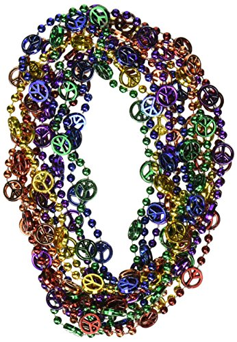 [Peace Sign Beads (asstd B/G/GD/O/PL/R)    (6/Card)] (60s Costume)