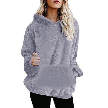 ZHRUI Womens Hairy Hooded Sudadera Abrigo Invierno cálido Lana Cremallera Bolsillo Wool Prendas de Abrigo Chaqueta (Color : Gray2, tamaño : XXL): Amazon.es: ...