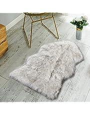 غطاء اريكة ناعم وفاخر من جلد الغنم الصناعي من نوردمكس- مقاس 2 × 3 قدم - ابيض باطراف رمادية