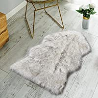 Nordmiex Faux Fur Sheepskin Rug - Deluxe Soft Faux Sheepskin Chair Cover, Seat Cushion Pad Plush Fur Area Rugs for Bedroom Sofa Floor, 2ft x 3ft(White with Grey Tips)