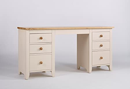 Marfil de fresno y pino doble Pedestal escritorio/tocador ...