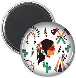Indian Traditional American Primitive Tribe Refrigerator Magnet Sticker Decoration Badge Gift