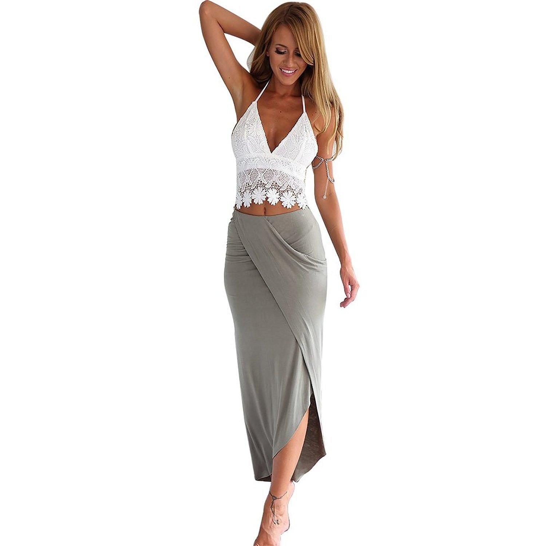 Minetom Damen Strandkleid Spitze V-Ausschnitt rückenfrei ärmellos Boho blusenkleid Sommerkleid Rock Minikleid Urlaub Kleid Strandkleider