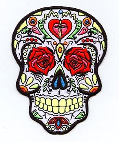 USA saler Sugar Skull  iron on Patch Sewing Clothes Bag Mexican Day of the Dead