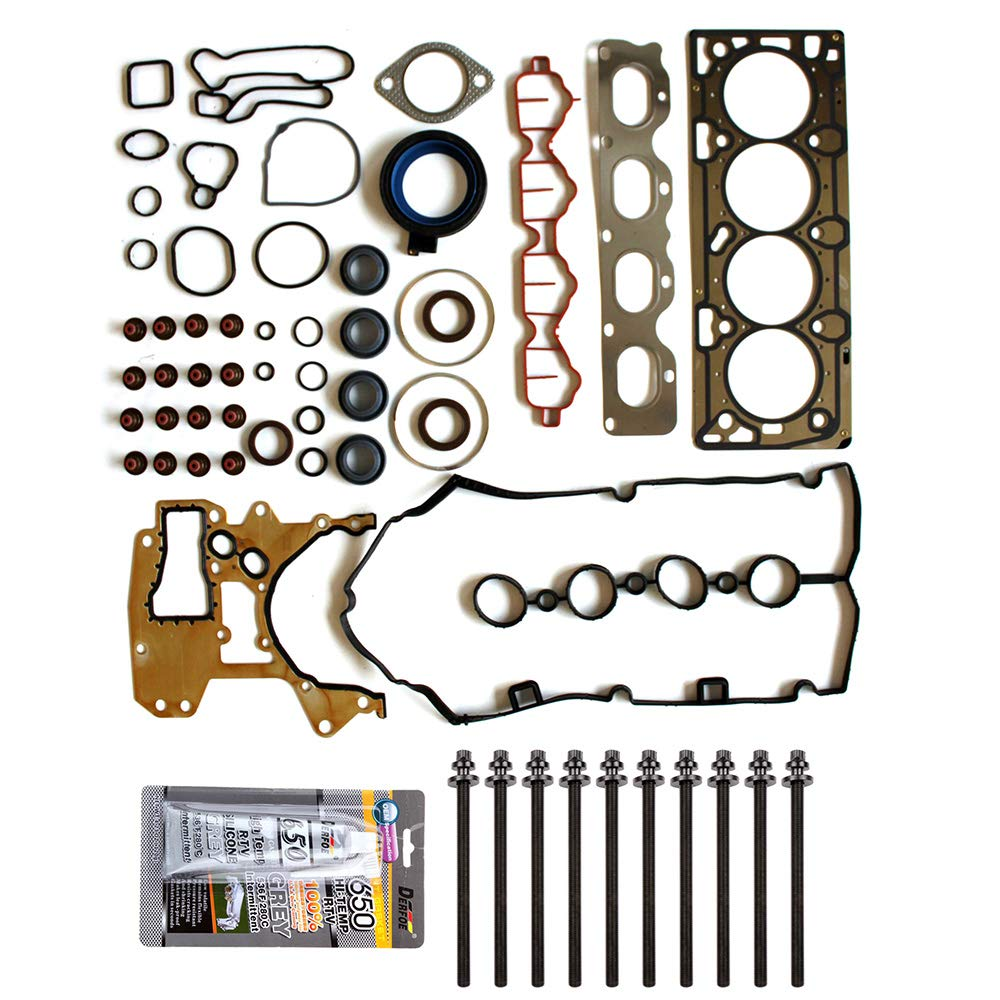 SCITOO Head Gasket Bolts Set Replacement for Chevrolet Aveo Aveo5 Pontiac G3 l4 DOHC Full Gasket Bolts Set VIN E LXV 09-11 Head Gaskets Kit Sets