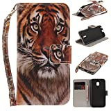 Misteem Case for Samsung Galaxy J3 2017 Animal, Cartoon Anime Comic Leather Case Wallet with Bookstyle Magnetic Closure Card Slot Holder Flip Cover Shockproof Slim Creative Pattern Shell Protective Cover for Samsung Galaxy J3 2017 [Tiger]