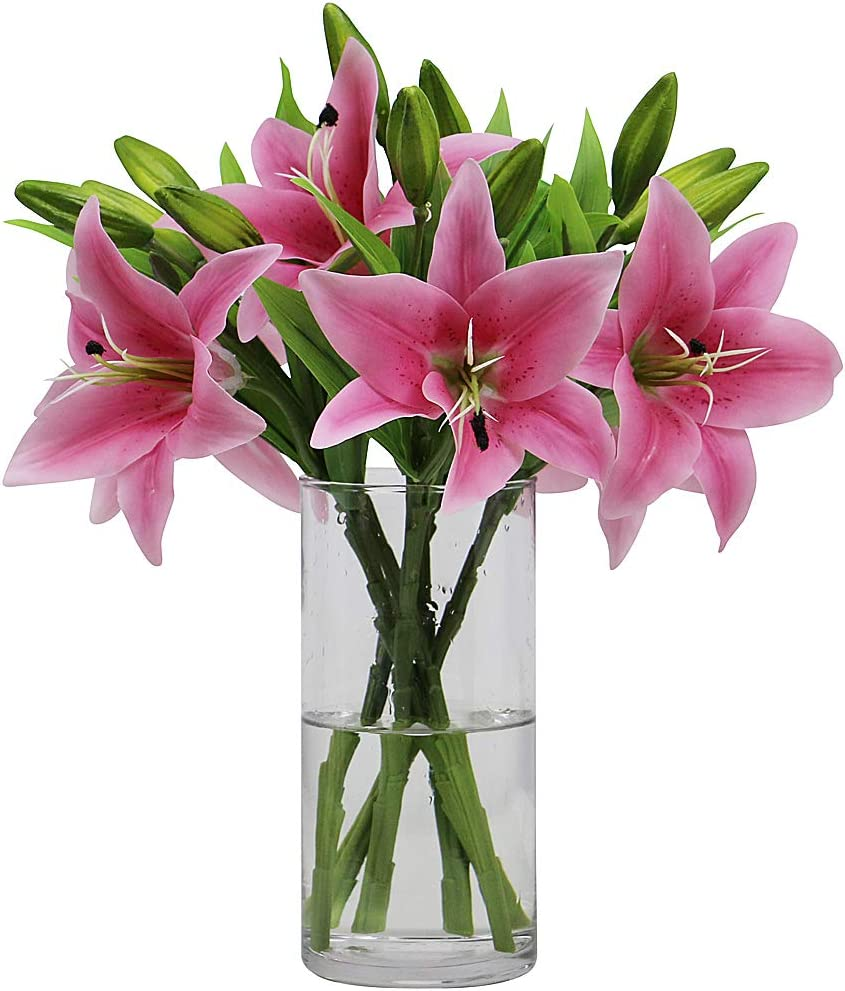 Omygarden 6pcs Pink Artificial Tiger Lily Flower, Fake Plastic Flowers, Home Office Wedding Party Decoration