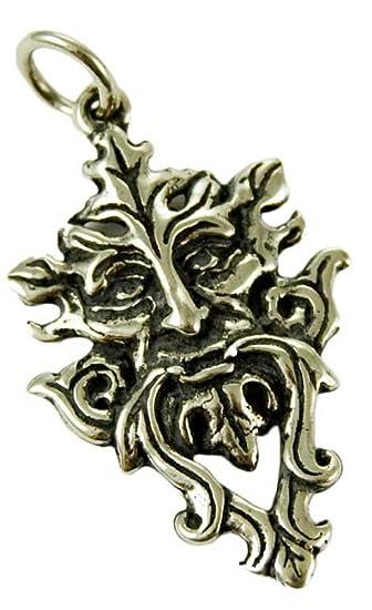 Solid Sterling Silver Green Man Tree Spirit Pagan Pendant Talisman (P003) yNMEI