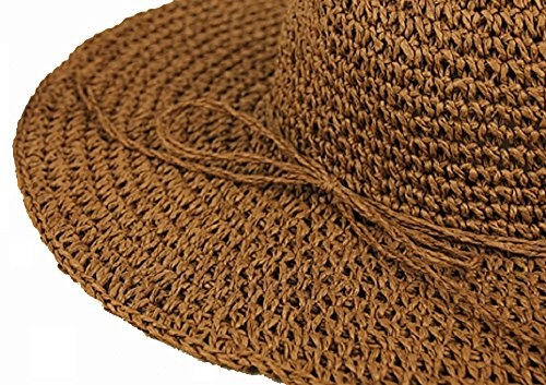 UPC 519947516425, Wowlife Retro Women Wide Brim Roll-up Crocheted Bohemia Straw Sun Hats brown 56-58CM