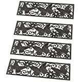 Collections Etc Butterfly Scroll Rubber Stair Treads - Set of 4, Black