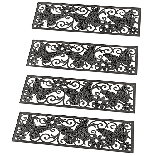 Collections Etc Butterfly Scroll Rubber Stair Treads - Set of 4, - Set Detail Ladder