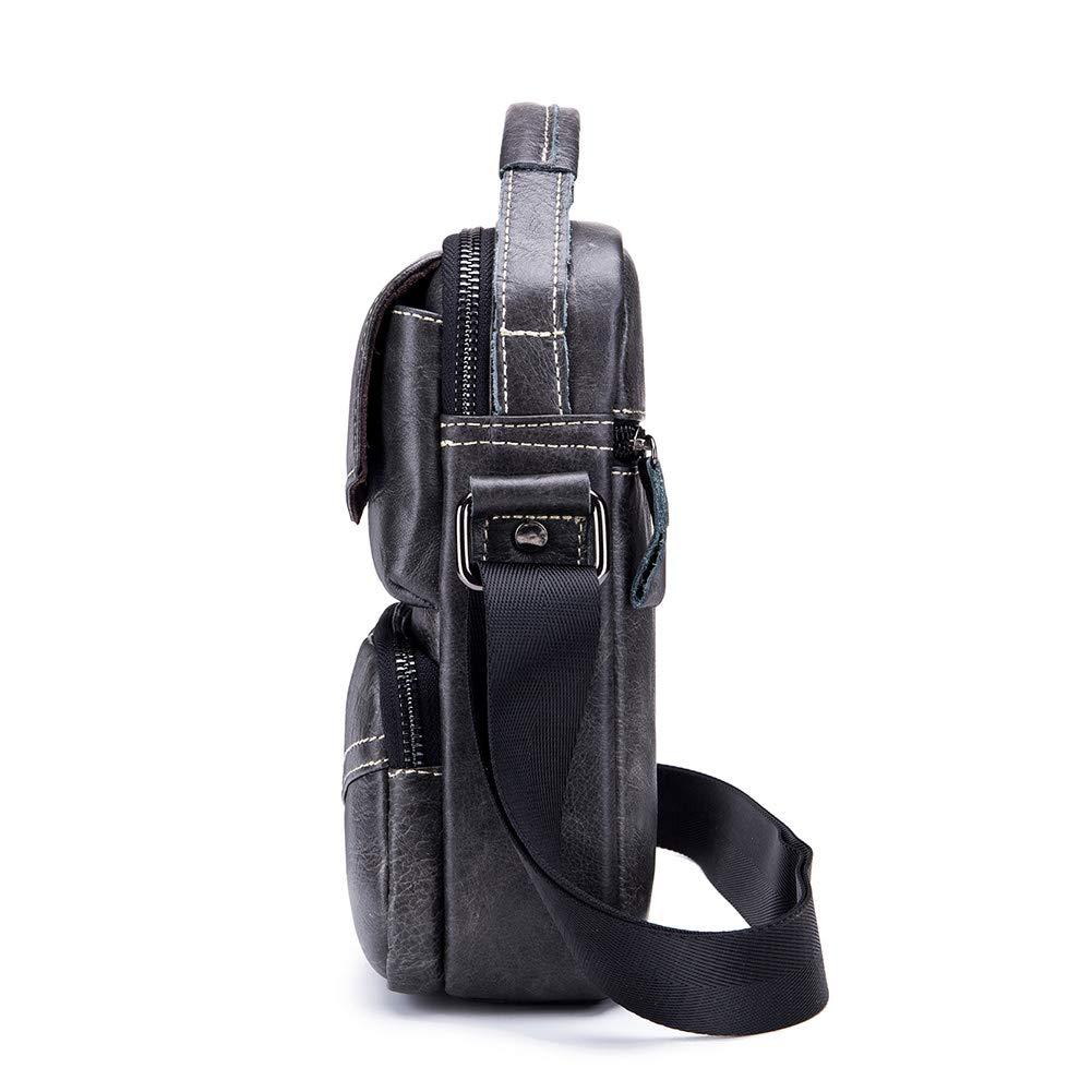 Wibis Männer Umhängetasche, Umhängetasche Vintage Leder Herren Casual Casual Casual Schulter Umhängetasche Leder Tragbare Multifunktions Tasche,schwarz B07NY8VSN8 Schultertaschen 568567