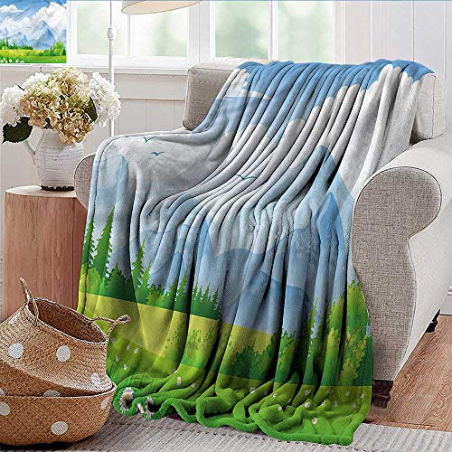 Xaviera Doherty Camping Blanket Nature,Summer Meadow with Daisy Lightweight Breathable Flannel Fabric,Machine Washable 50