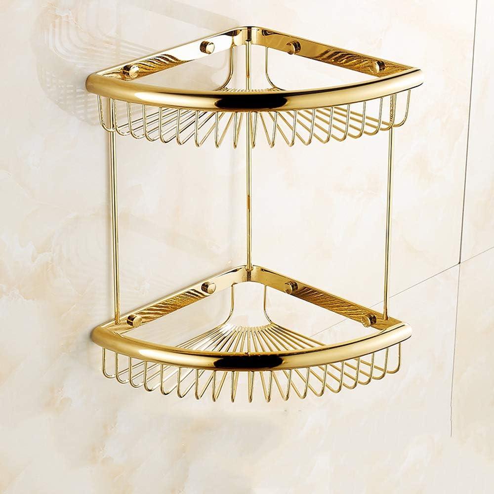 Antique Brass Toilet Shower Shelf Wall Mounted Bathroom Organizer Holder Shelf