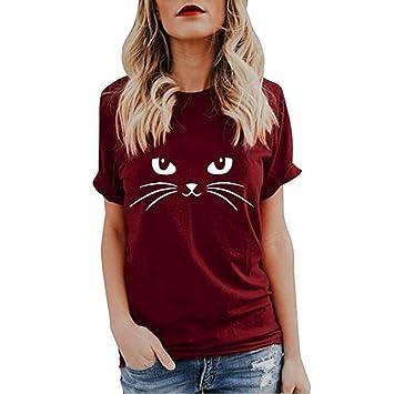 6b6a94c5ba Yesmile Camiseta de Mujer Tops Negro Blusa Causal Ocasionales Camiseta  Causal de Las Mujeres Ocasionales de Manga Corta O-Cuello Tops Gato Impreso  (Vino A